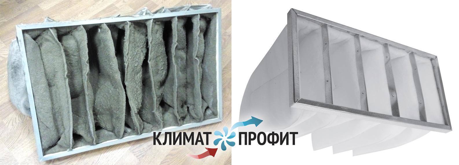 Замена фильтра при техническом обслуживании вентиляции.